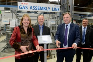 Official opening of the new gas production line at Worcester's Clay Cross site - Natascha Engel MP and Shadow Chancellor Ed Balls